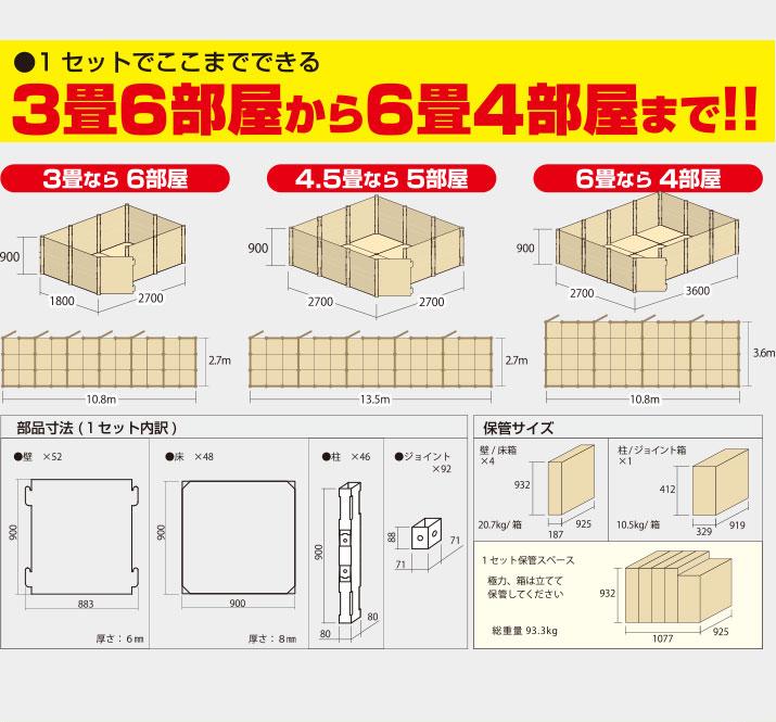 1セットで3畳6部屋から6畳4部屋までできる!